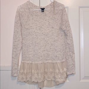 + Rue 21 Lace Detailed Bottom Thin Sweater Blouse